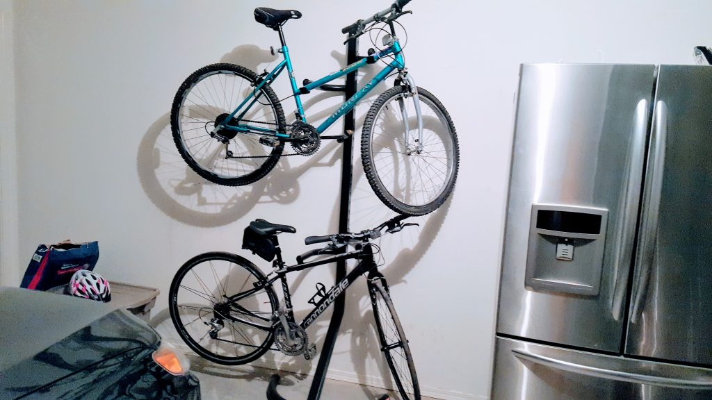 Teal and the Cannondale perched on their rack.