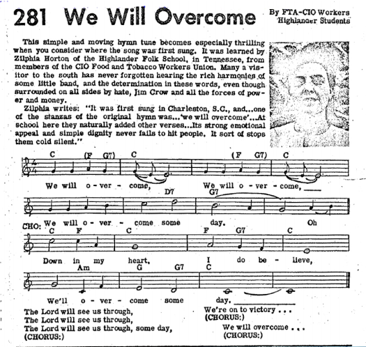 Sheet music for We Shall Overcome.