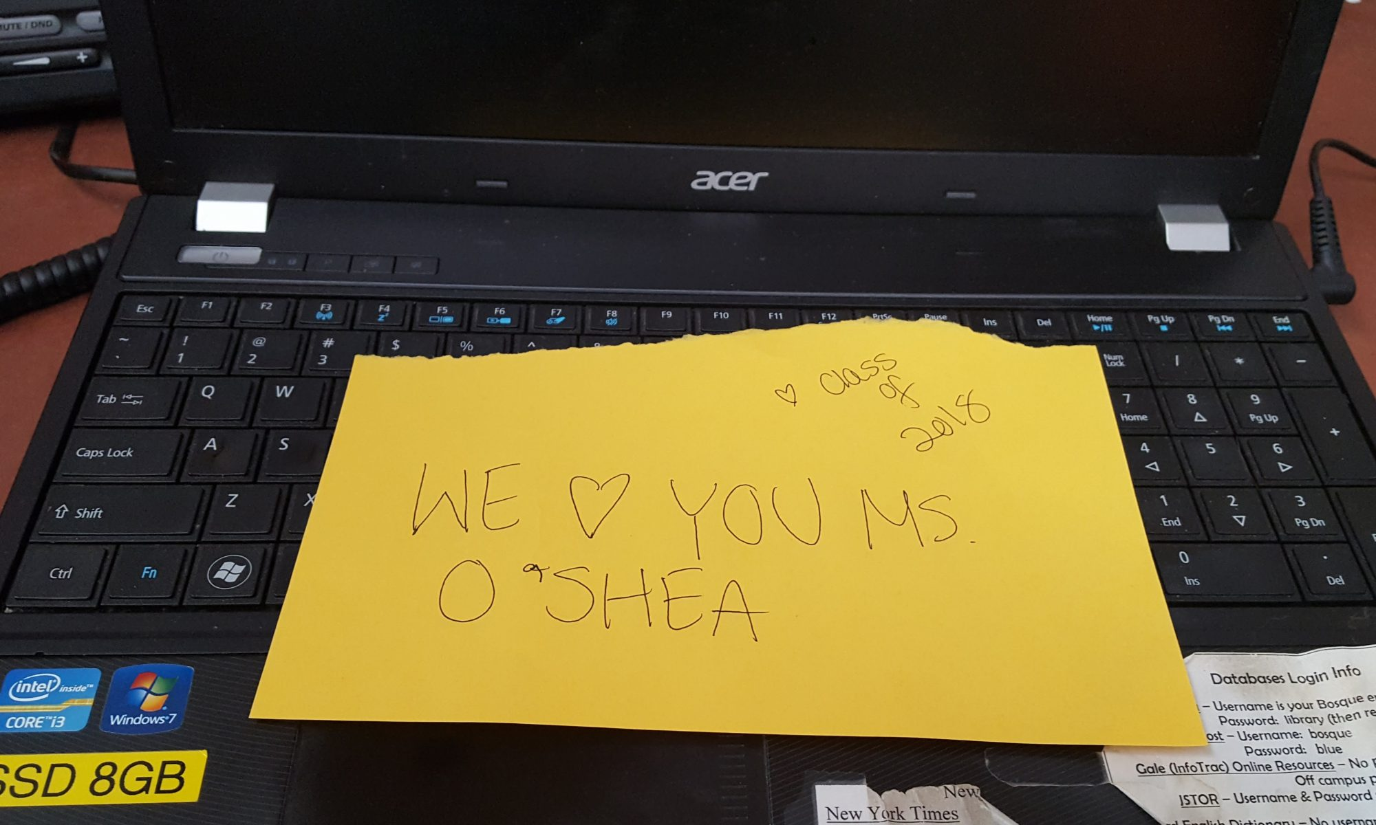 "Note from the seniors reading ""We [heart] you Ms. O'Shea"""